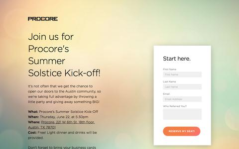 Screenshot of Landing Page procore.com - Join us for Procore's Summer Solstice Kick-off! - captured June 18, 2017