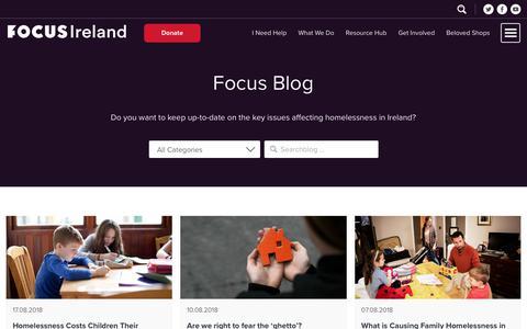 Screenshot of Blog focusireland.ie - Focus Blog - Focus Ireland - captured Aug. 18, 2018