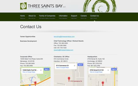 Screenshot of Contact Page Locations Page threesaintsbay.com - Three Saints Bay, LLC | Contact Us - captured Oct. 25, 2014