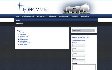 Screenshot of Site Map Page kopetzmfg.com - Sitemap | Kopetz Manufacturing LLC - captured Oct. 6, 2014