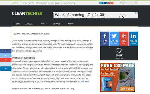 Submit Your CleanTech Articles - CleanTechies