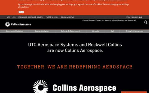 Screenshot of Home Page rockwellcollins.com - Collins Aerospace - captured May 16, 2019