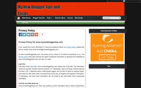 Screenshot of Privacy Page mynewbloggertips.com - My New Blogger Tips and Tricks: Privacy Policy - captured Nov. 2, 2014