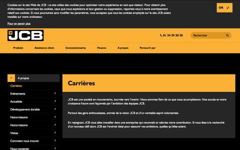 Screenshot of Jobs Page jcb.com - Carrières - captured Nov. 18, 2016