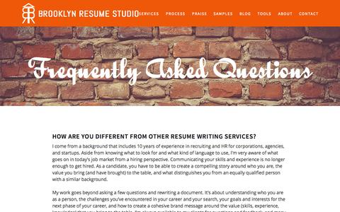 Screenshot of FAQ Page bklynresumestudio.com - FAQ | Brooklyn Resume Studio – New York City Resume Writer & Career Consultant - captured Oct. 5, 2014