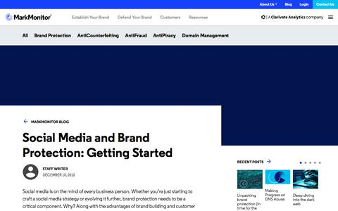 Screenshot of Press Page markmonitor.com - Social Media and Brand Protection: Getting Started - MarkMonitor - captured Jan. 13, 2020