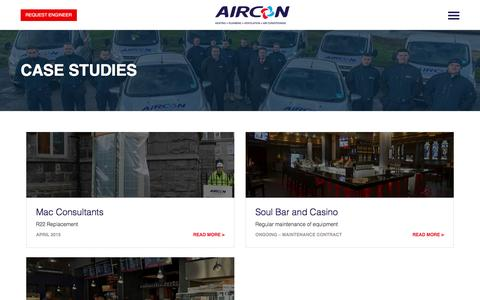 Screenshot of Case Studies Page airconscotland.co.uk - Commercial Air Conditioning Systems - Case Studies - captured Feb. 5, 2016