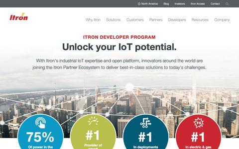 Screenshot of Developers Page itron.com - Developers - captured June 19, 2019