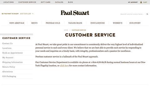 Screenshot of Support Page paulstuart.com - Customer Service - captured Nov. 17, 2015