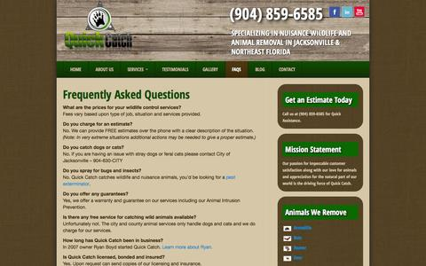 Screenshot of FAQ Page quick-catch.com - Frequently Asked Questions - Wildlife Control Company - captured Oct. 29, 2014