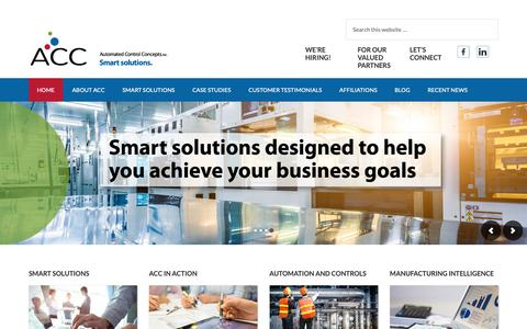 Screenshot of Home Page automated-control.com - Automated Control Concepts – Smart solutions. - captured Dec. 18, 2018