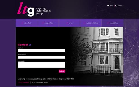 Screenshot of Contact Page ltgplc.com - contact us | Learning Technologies Group plc - captured Oct. 2, 2014