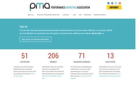 Screenshot of Home Page thepma.org - The PMA | The Performance Marketing Association - captured Sept. 23, 2014