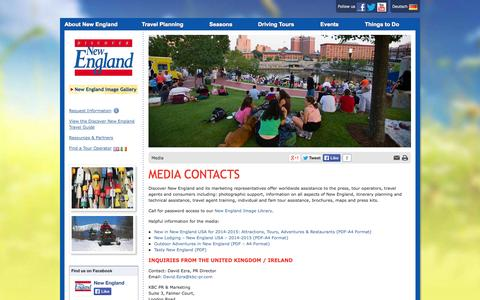 Screenshot of Press Page discovernewengland.org - Tourism Media Contacts for New England USA | Discover New England - captured Sept. 23, 2014