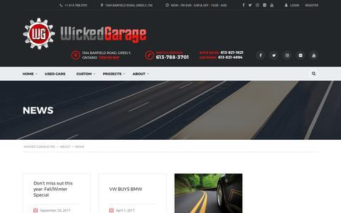 Screenshot of Press Page wickedgarage.com - News | Wicked Garage Inc - captured Nov. 4, 2017