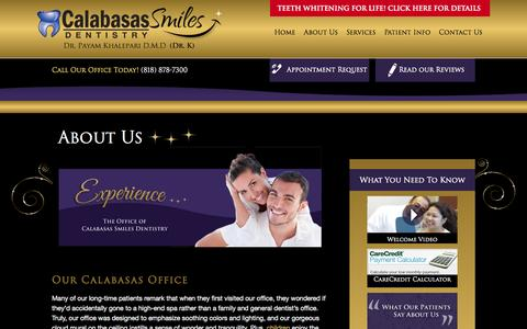 Screenshot of About Page calabasassmiles.com - About us | Calabasas Smiles | Calabasas, CA - captured Sept. 27, 2014