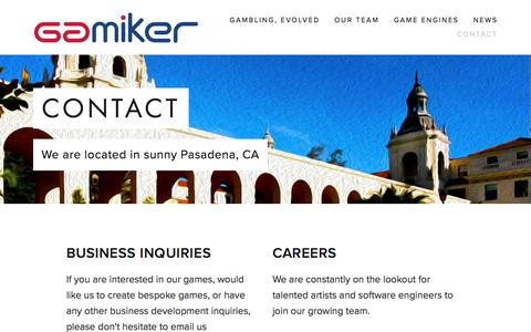 Screenshot of Contact Page gamiker.com - Contact — Gamiker Games - captured July 11, 2016