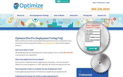 Screenshot of FAQ Page optimizehire.com - FAQ - Pre-Employment Testing | Optimize Hire - captured Oct. 26, 2014