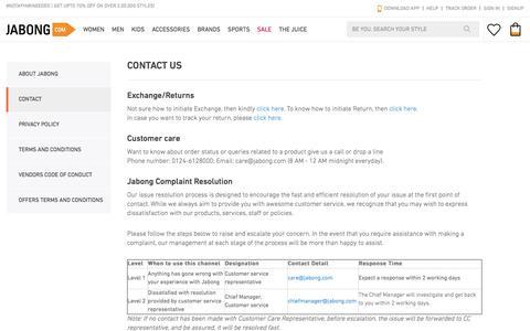 Screenshot of Contact Page jabong.com - Jabong Customer Support | Contact Us - captured July 3, 2016