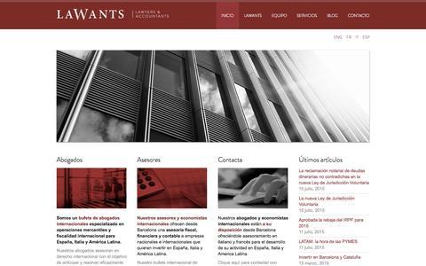 Screenshot of Home Page lawants.com - Lawants | Inicio - Bufete internacional de abogados y economistas en Barcelona - captured Sept. 11, 2015