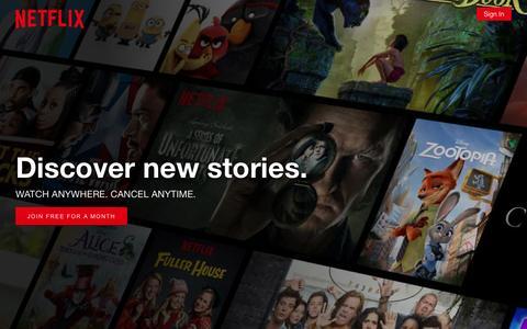 Screenshot of Home Page netflix.com - Netflix - Watch TV Shows Online, Watch Movies Online - captured Jan. 26, 2017