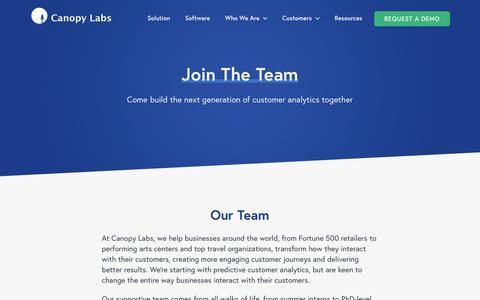 Screenshot of Jobs Page Team Page canopylabs.com - Join the Team - Canopy Labs - captured June 21, 2018