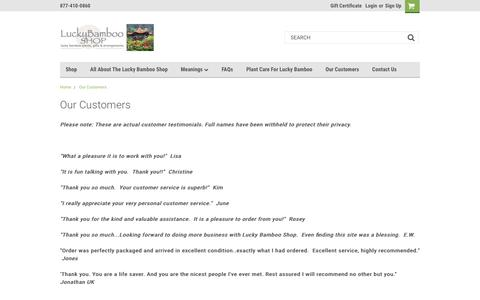 Screenshot of Site Map Page Testimonials Page luckybambooshop.com - Our Customers - captured Oct. 30, 2018