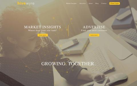 Screenshot of Home Page adhesive.co - Hivewyre The Online Advertising Co-op - captured Oct. 2, 2015