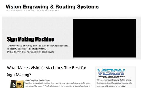 Screenshot of Landing Page visionengravers.com - Sign Machine   Sign Router   Vision Engraving and Routing Systems - captured Oct. 19, 2016