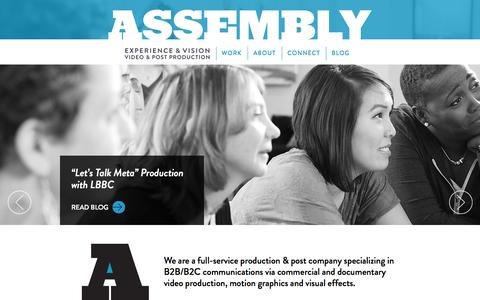 Screenshot of Home Page assemblypix.com - Assembly - Philadelphia Video Production + Post - Home - captured Sept. 11, 2015