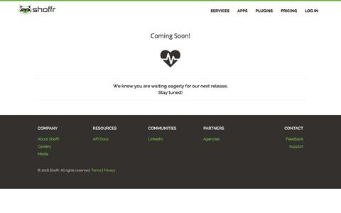 Screenshot of Privacy Page Signup Page Login Page Terms Page shoffr.io - Coming Soon - captured June 28, 2016