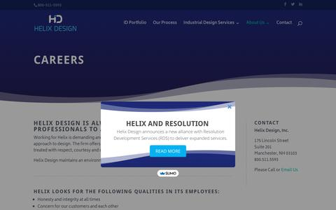 Screenshot of Jobs Page helixdesign.com - Careers — Helix Design - captured Sept. 28, 2018