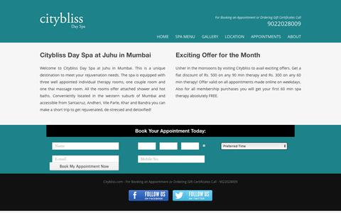 Screenshot of Menu Page citybliss.com - Citybliss Spa at Juhu in Mumbai - captured June 26, 2017