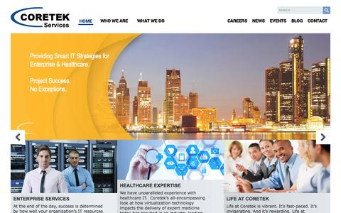 Screenshot of Home Page coretekservices.com - Coretek Services - captured Sept. 23, 2014