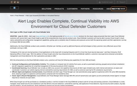 Alert Logic Enables Complete, Continual Visibility into AWS Environment for Cloud Defender Customers