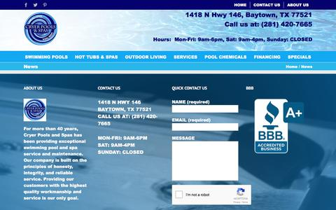 Screenshot of Press Page cryerpools.com - News - Cryer Pools & Spas, Inc. - captured Sept. 16, 2017
