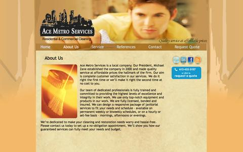 Screenshot of About Page acemetroservices.com - About Us «  Ace Metro Services - captured Sept. 22, 2014
