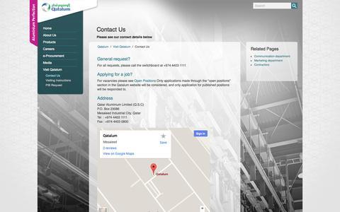 Screenshot of Contact Page qatalum.com captured Oct. 2, 2014