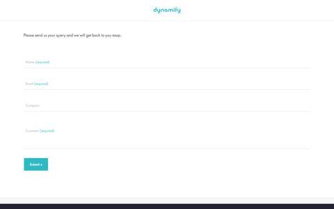 Screenshot of Contact Page dynamify.com - Contact – Digital Ordering Platforms - captured Jan. 26, 2018