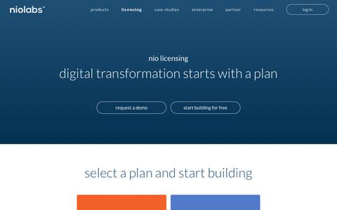 Screenshot of Pricing Page niolabs.com - Pricing: Sign up and build today | niolabs - captured July 7, 2018