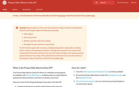 Screenshot of Developers Page google.com - Picasa Web Albums Data API    Google Developers - captured July 31, 2016