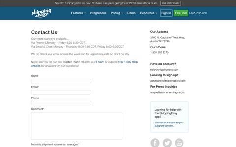 Screenshot of Contact Page shippingeasy.com - Contact Us - ShippingEasy - captured Oct. 9, 2017