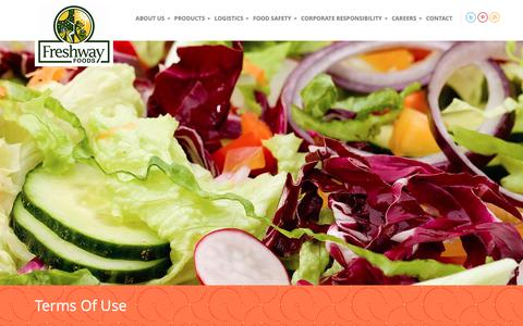 Screenshot of Terms Page freshwayfoods.com - Terms of Use | Freshway Foods - captured Dec. 10, 2018