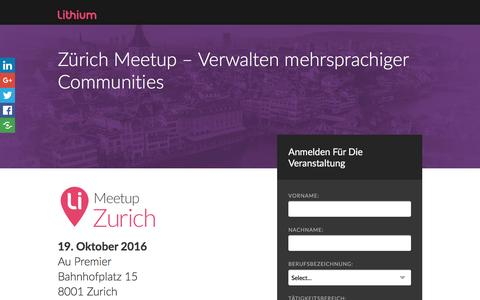 Screenshot of Landing Page lithium.com - Zürich Meetup – Verwalten mehrsprachiger Communities - captured Oct. 2, 2016