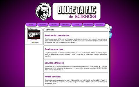 Screenshot of Services Page turbu.fr - Turbulence, l'association des étudiants en sciences de Lyon 1 - captured Nov. 5, 2014