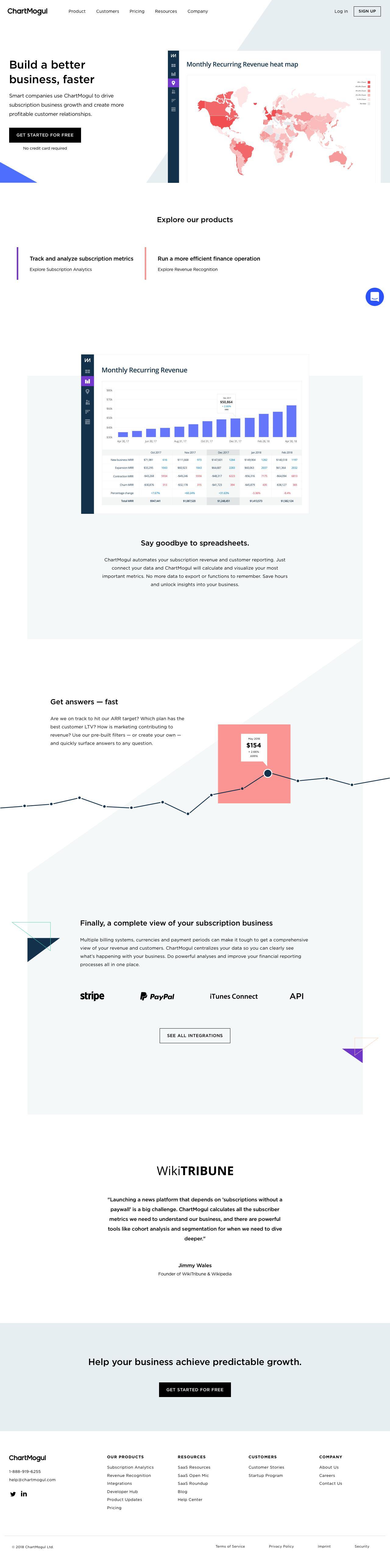 Screenshot of chartmogul.com - ChartMogul | Subscription Analytics and Revenue Reporting - captured June 14, 2018