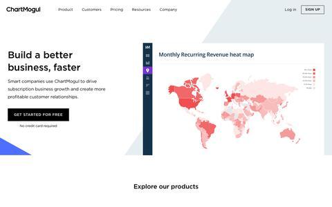 Screenshot of Home Page chartmogul.com - ChartMogul | Subscription Analytics and Revenue Reporting - captured June 14, 2018