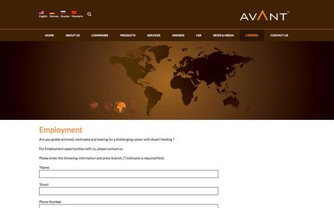 Screenshot of Jobs Page avantholding.com - CAREERS - Avant Holding - captured Dec. 27, 2015
