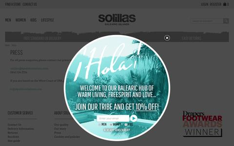 Screenshot of Press Page solillas.com - Press | Menorcan Sandals by Solillas | Balearic Islands - captured Aug. 14, 2016