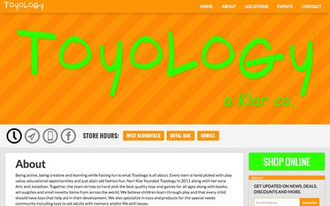 Screenshot of About Page toyologytoys.com - About - captured Nov. 5, 2014